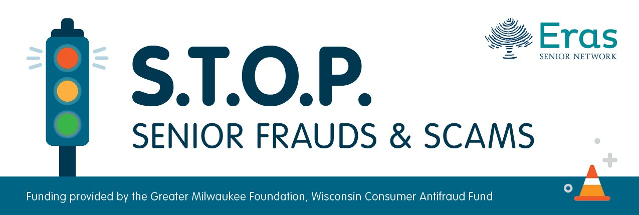 S.T.O.P. Senior Frauds and Scams Shows a Stop light with the red light shinning.